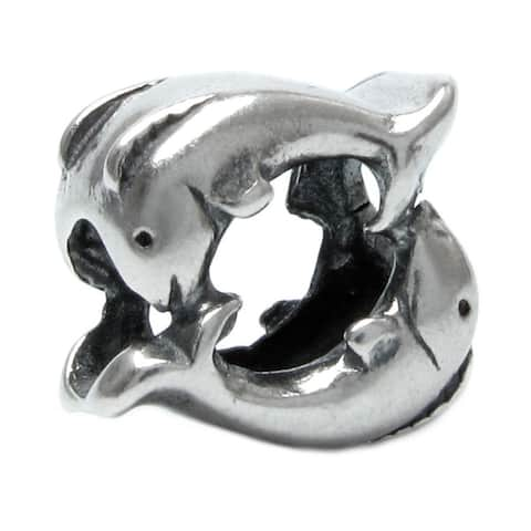 Queenberry 925 Sterling Silver Twin Dancing Ocean Animals / Beach Bead Charm