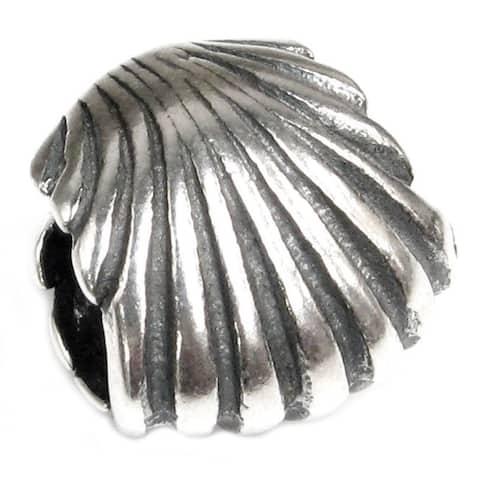 Queenberry 925 Sterling Silver SEASHELL Focal Bead Charm for Pandora Troll Biagi Chamilia European Jewelry European Bead Charm