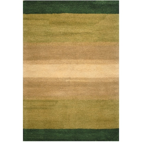 Handmade Striped Wool Rug (India) - 4' x 6'