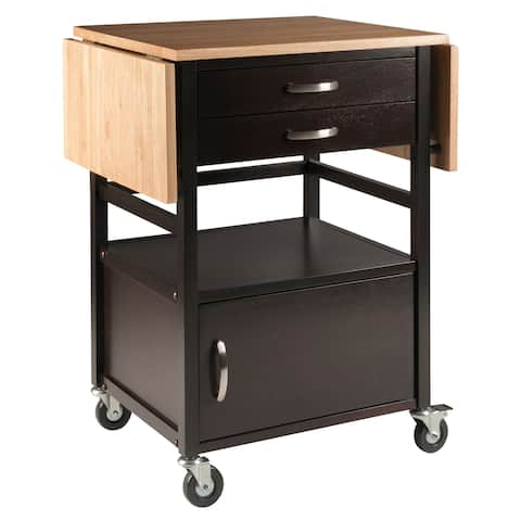 Bellini Kitchen Cart Natural/Coffee Finish - N/A