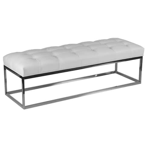 Cortesi Home Biago Stainless Steel Contemporary Tufted Oversize Bench in Faux Leather, Snow White