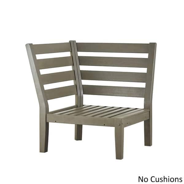 Havenside Home Moosonee Modern Grey Outdoor Cushioned Sectional Wood Corner Chair