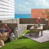 Barbados II Mocha Square Arm Wicker Outdoor Sectional by iNSPIRE Q Oasis