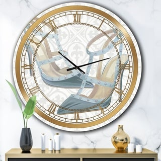 Designart 'Glam cosmetics Blue Shoes' Posh & Luxe Large Wall CLock