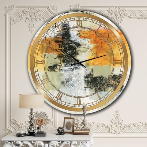 Designart 'Abstract Composition of Glamorous Yellow and Black' Glam Large Wall CLock
