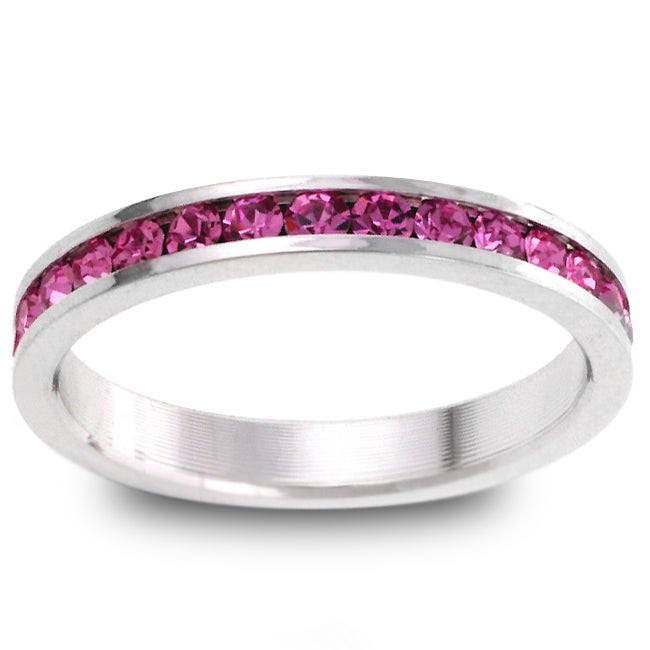 Kate Bissett Silvertone Pink Stackable Cubic Zirconia Eternity Band