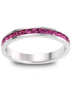 Kate Bissett Silvertone Pink Stackable Cubic Zirconia Eternity Band (More options available)