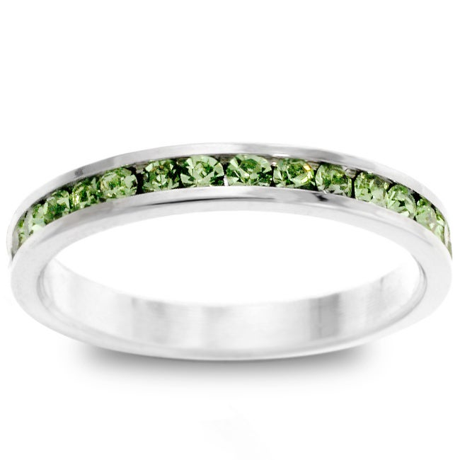 Kate Bissett Silvertone Green Stackable CZ Eternity Band