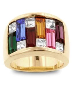 Kate Bissett Goldtone Multicolored Baguette Cubic Zirconia Ring