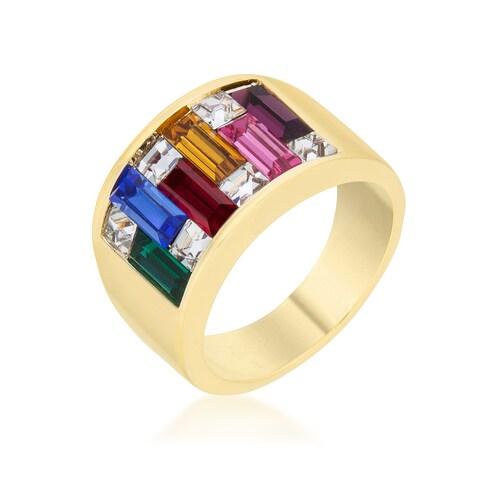 Kate Bissett Goldtone Multicolored Baguette Cubic Zirconia Ring