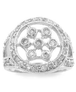 Kate Bissett Sterling Silver Clear CZ Snowflake Ring