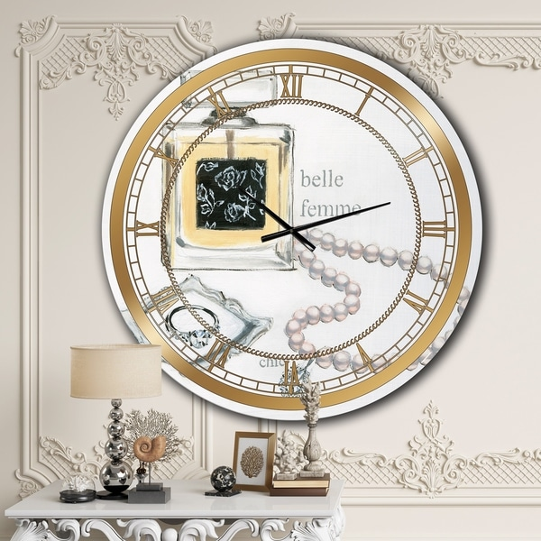 Designart 'Perfume Glam Bathroom I' Glam Oversized Wall CLock