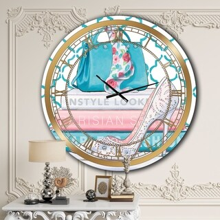 Designart 'Pink Fashion high heels IV' Posh & Luxe Wall CLock