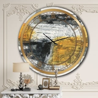 Designart 'Abstract Composition of Glamorous Yellow and Black' Glam Wall CLock