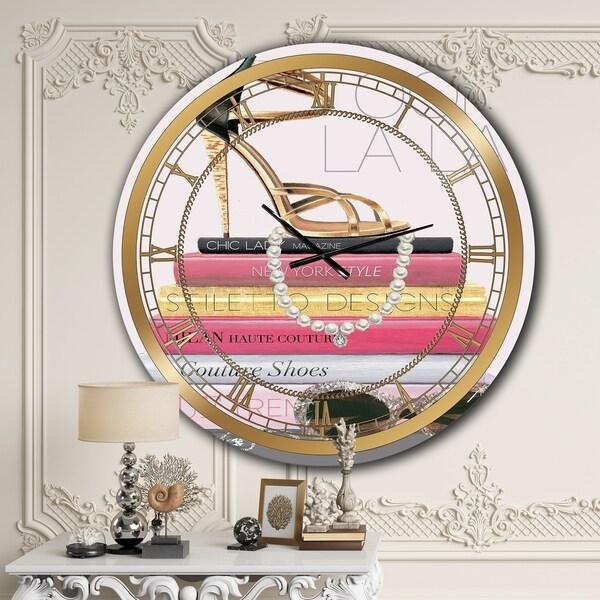Designart 'Paris Glamourous Gold Style II' Glam Large Wall CLock