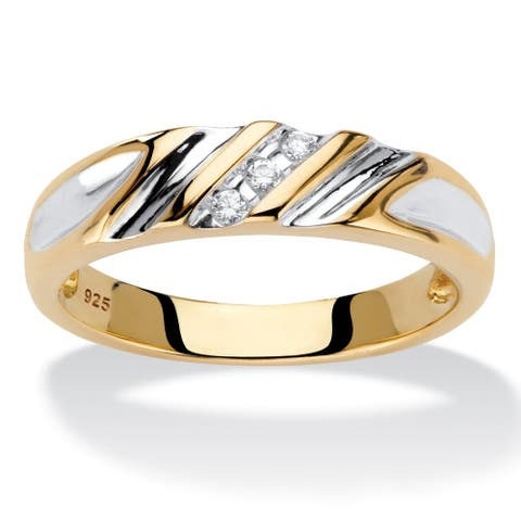 Men's Two- Tone Gold over Silver Genuine Diamond Accent Wedding Band