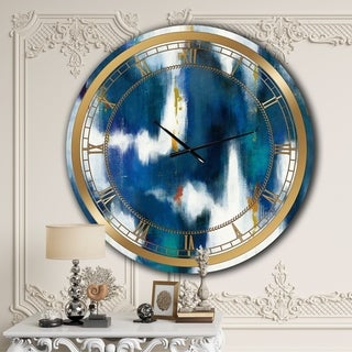 Designart 'Blue Glam Texture II' Glam Large Wall CLock