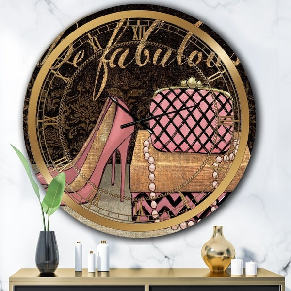 Designart 'Gold Fabulous Life Style III' Glam Large Wall CLock