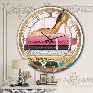 Designart 'Paris Glamourous Gold Style IV' Glam Large Wall CLock