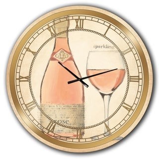 Designart 'Glam Sparkling Rose Wine' Glam Large Wall CLock