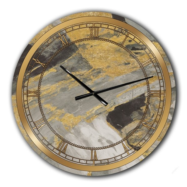 Designart 'Marble Gold and Black' Glam Large Wall CLock