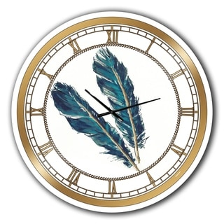 Designart 'Gold Indigo Feathers III' Glam Large Wall CLock