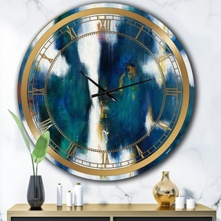 Designart 'Blue Glam Texture I' Glam Large Wall CLock