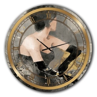 Designart 'Gold Fashion Dance' Glam Oversized Wall CLock