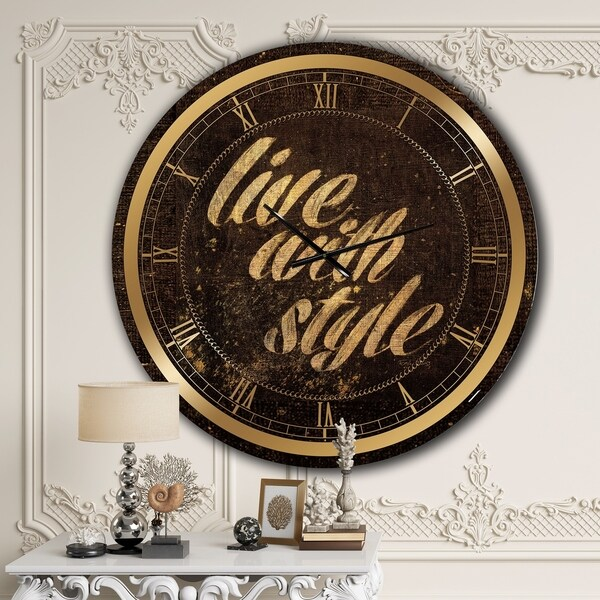 Designart 'Gold Glam Live with Style Quotes' Glam Large Wall CLock