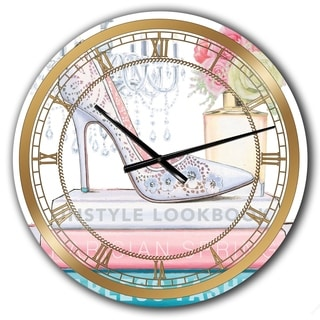 Designart 'Pink Fashion high heels III' Posh & Luxe Large Wall CLock