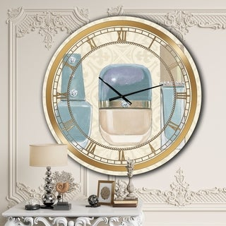 Designart 'Glam cosmetics Blue accessories' Glam Large Wall CLock