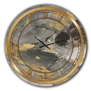 Designart 'Marble Gold and Black II' Glam Large Wall CLock