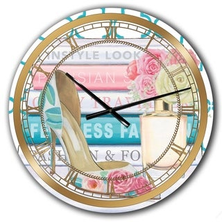 Designart 'Pink Fashion high heels II' Posh & Luxe Large Wall CLock