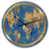 Designart 'Golden Glam World Map' Glam Wall CLock
