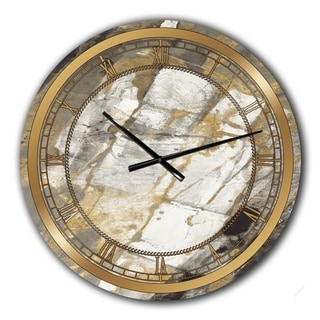 Designart 'Gold, Black and White Hanpainted Abstract' Glam Large Wall CLock