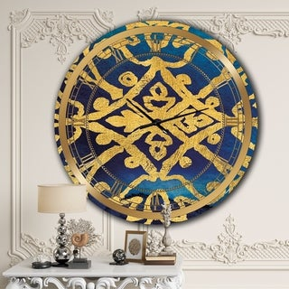 Designart 'metallic Glam Indigo Form I' Glam Large Wall CLock