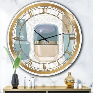 Designart 'Glam cosmetics Blue accessories' Posh & Luxe Large Wall CLock