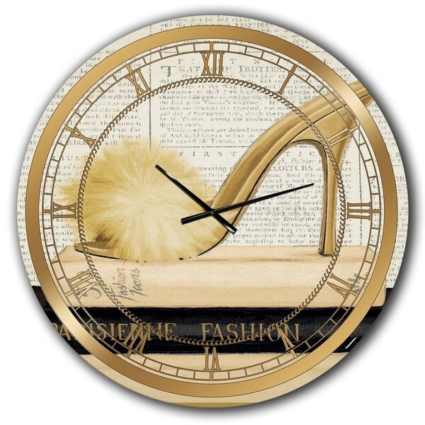 Designart 'Gold Fashion High Hells II' Posh & Luxe Large Wall CLock