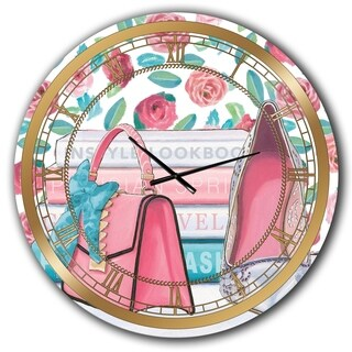Designart 'Pink Fashion high heels I' Posh & Luxe Large Wall CLock