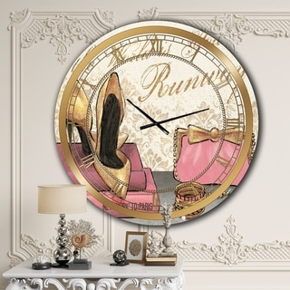 Designart 'Gold Fabulous Life Style I' Glam Large Wall CLock