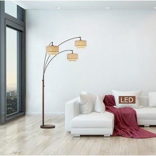 "Artiva Lumiere III 80"" LED Arc Antique Bronze Floor Lamp/Double shade"