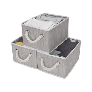 StorageWorks: Foldable Fabric Storage Bin w/Cotton Rope Handles, Clay 3-pack