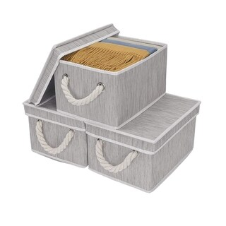 StorageWorks: Foldable Fabric Storage Bin w/Cotton Rope Handles & Lid, Clay 3-Pack