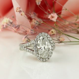 Auriya 14k Gold 5 1/4cttw Oval-cut Halo Diamond Engagement Ring Certified