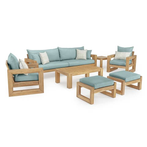 Benson 8pc Sofa & Club Chair Set in Spa Blue by RST Brands