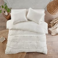 Madison Park Tracie Pom Pom Cotton Duvet Cover Set 2-Color Option