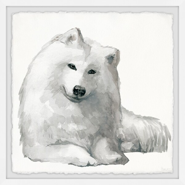 Handmade White Spitz Framed Print