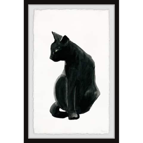 Handmade Mysterious Black Cat Framed Print