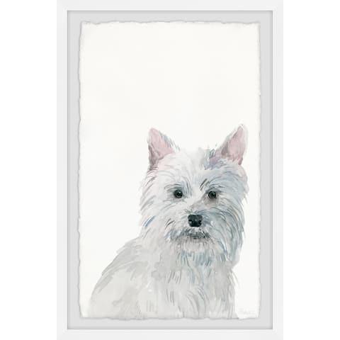 Handmade Little White Dog Framed Print