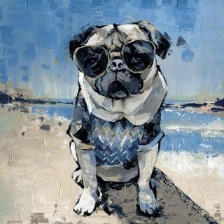 Handmade Cool Pug Print on Wrapped Canvas